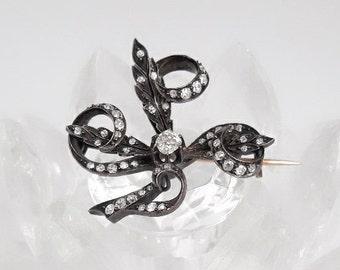 Antique Victorian Diamond Swirl Brooch