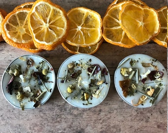 Six Handmade Chamomile and Citrus flower tea light candles, Meditation herb candles, flower infused tea light, tea light, spell candles