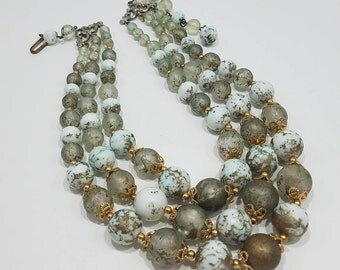 Gorgeous Triple Strand Beaded Necklace with Gold Marbled Beads