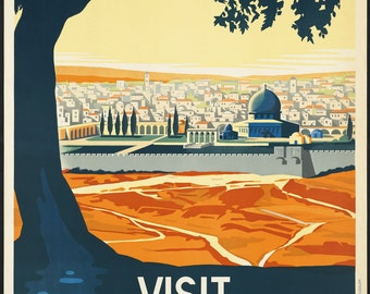 "vintage ""Visit Palestine"" - vintage 1940s advertising travel poster"