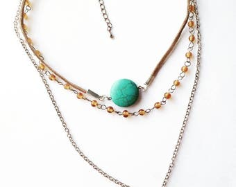 Three Layered Necklace with Suede Detail