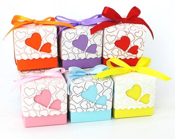 50 DIY Wedding Favor Love Boxes/Heart Cut Out Gift Box/Colorful Favor Box with Ribbon/Wedding Favors for Guests/DIY Rainbow Favors/DIY Boxes
