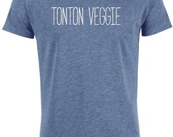 "T-shirt cotton man bio ""Uncle Veggie"", vegan tshirt"