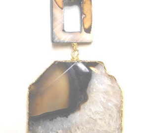 natural stone agate pendant necklace
