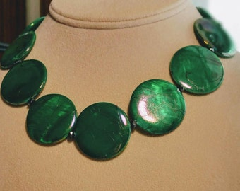 """Kelly Green glass disks and hemetite, 18"""", includes earrings.  DL#334"""
