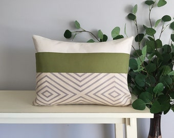 Decorative Pillow Cover, Color Block Pillow, Pillow with Green Stripe