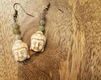 Buddha Head Jasper Bead Fishhook Earrings