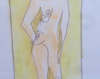Abstract Act of drawing from pastels, original female nude, blind line on white paper A2