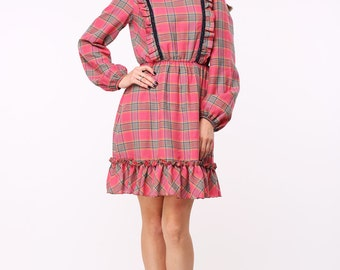 Ruffled plaid cotton dress with lace trim