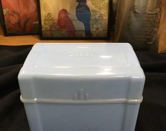 1940s Powder Blue Art Deco Plastic Recipe Box with Hinged Lid