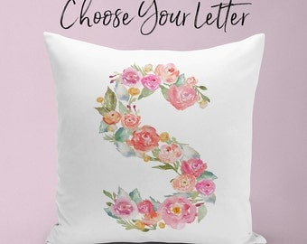 Floral Initial Pillow, Watercolor Floral Initial, Nursery Pillow, Custom Girls Nursery Decor, Baby Girl Nursery, Gift for Newborn Baby Girl