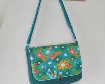 Blue shoulder bag / satchel or laptop bag/ flower pattern bag/ messenger bag