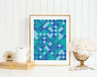 Aqua Gold Tile Print