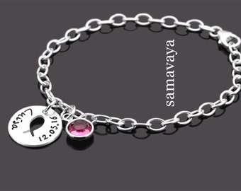 Baptism bracelet with engraved KUMBAYA 925 Silver christening jewellery children bracelet name jewelry
