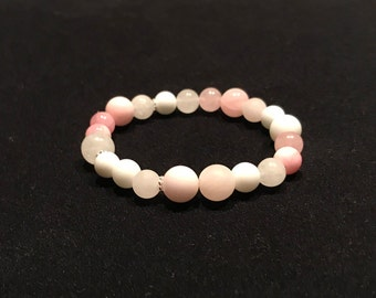 Pink and white natural stone bead bracelet