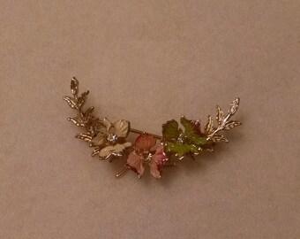 Vintage floral pin - gold, flowers, crescent shaped, enamel