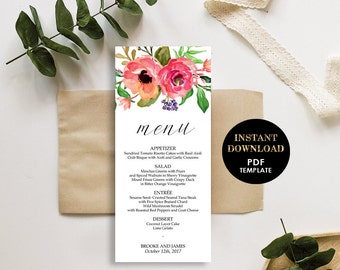 Floral Wedding Menu, Printable Template, Menu card (Brooke), Instant Download, Editable Text