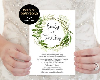 Greenery Wedding Invitation, Garden Wedding Template, Foliage Wreath Printable Wedding Invitation card (Emily), Editable Text