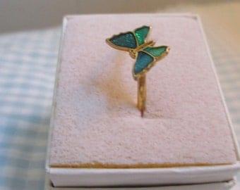 Avon butterfly enamel ring size 6
