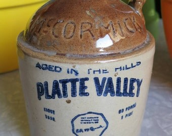 McCormick's Platte Valley Straight Corn Whiskey 80 Proof Ceramic Vintage Pint Decanter!