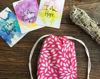 Small Pink Floral Tarot or Oracle Card Deck Cotton Drawstring Bag - Holds the  I Am Power Deck, Spirit de la Lune, and more!