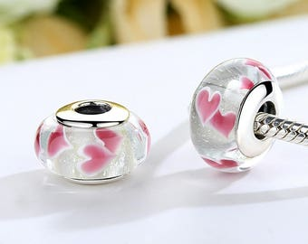 Sterling Silver charm European Murano Glass Beads Charms European perfect for pandora and troll or european bracelets