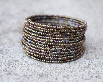 Bronze Mixed Metals Wrap Around Memory Wire Bracelet