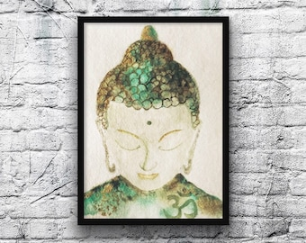 Peaceful Buddha painting-buddha painting-watercolor-zen style-painting-made by claire Darby