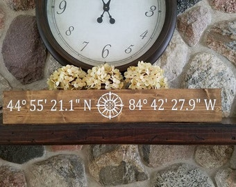 Personalized GPS Coordinates Wood Sign
