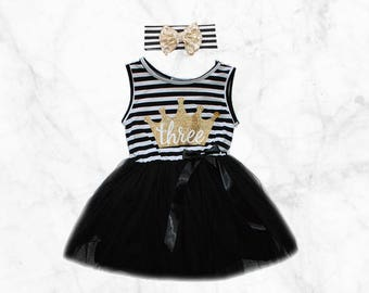 3rd Birthday Tutu Dress Black and Gold Outfit with matching bow headband third bday