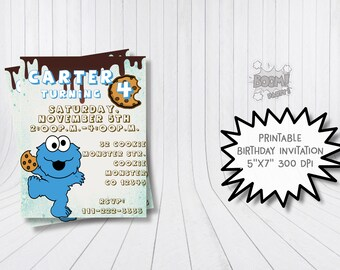 Cookie Monster invitation, Cookie Monster birthday party, Cookie Monster birthday invitation, Sesame Street invitation