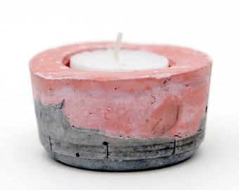 Pink and Grey Concrete Tealight holder