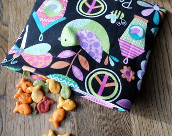 Reusable Snack Bag with Velcro Closure (Bright Prints) / In stock and ready to ship