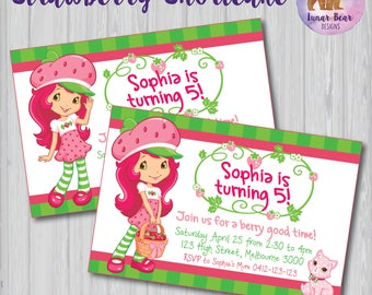 Strawberry Shortcake Invitation, Strawberry Shortcake Invite, Strawberry Shortcake Party, Strawberry Shortcake Birthday Party, Printable