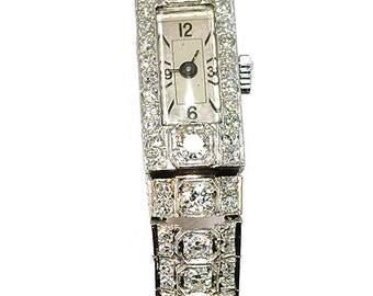Watch art deco Platinum Diamond Art deco 1930