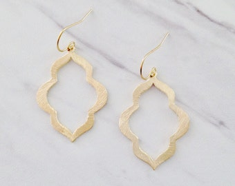 Gold Moroccan Earrings, Gold Statement Earrings, Brushed Gold Earrings