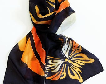 NEW! Butterfly dancing, orange, black,original design silk scarf, hand painted in Scotland, party/confident day/ gift 8*60 Inch