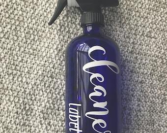 Custom cleaner label, 16 oz spray label, spray bottle label, custom label, essential oil label