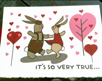 Better together card, Bunnies dancing card, Cute bunnies card, Anniversary card, Valentine's day card, I love you card, We're a team card