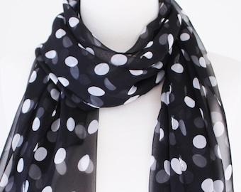 Soft Elegant Long Wrap Scarves / Black and White / Polka Dot / Spring Summer Scarf / Women Scarves / Accessories / Handmade