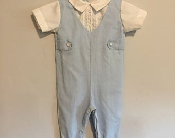 Vintage 1980s Alexis Infant Boys Footed Pinstripe White and Blue Faux Suit 6 Months