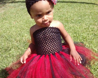 Red and Black Pretty little tutu with headband and bow