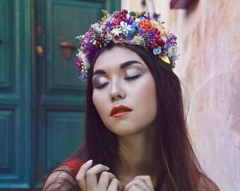 Rich, colorful flower crown / headband