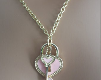 Pink heart key and lock charm necklace