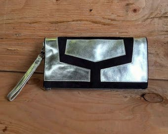 Genuine Suede and Metallic Foil Leather Wristlet Clutch