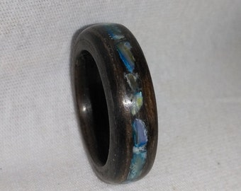 Blue bead and walnut bent wood ring