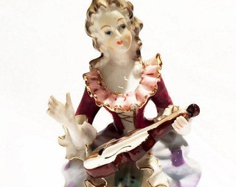 Bone China Lace Figurine Victorian Lady With Guitar