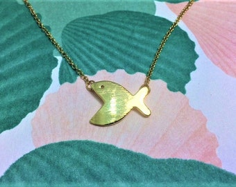 Quirky gold fish pendant necklace
