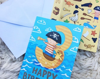 Pirates Age 3 Birthday activity card