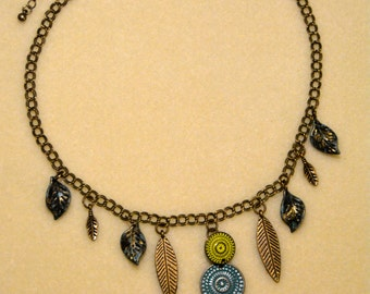 Brass Pendant Necklace with Vintage Accents